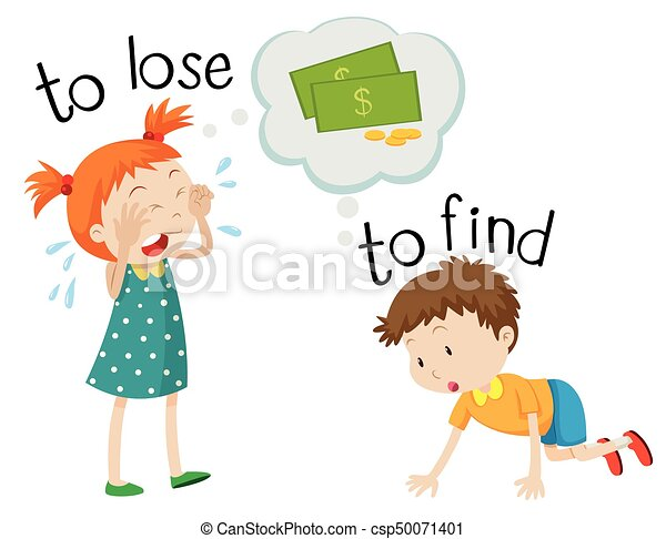 Opposite wordcard for lose and find - csp50071401