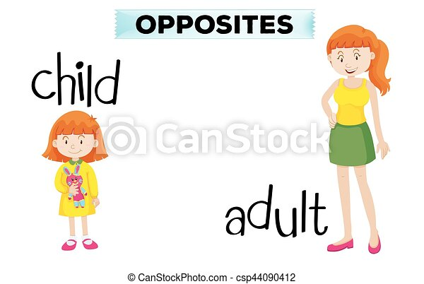 Opposite wordcard with child and adult - csp44090412