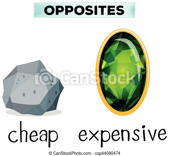 Opposite words for cheap and expensive - csp44090474