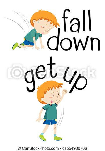 opposite words for fall down and get up illustration clip art vector rh canstockphoto com clip art words and images clip art words make your own