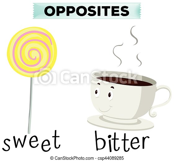 Opposite words for sweet and bitter - csp44089285