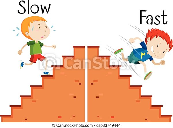 Opposite words slow and fast - csp33749444