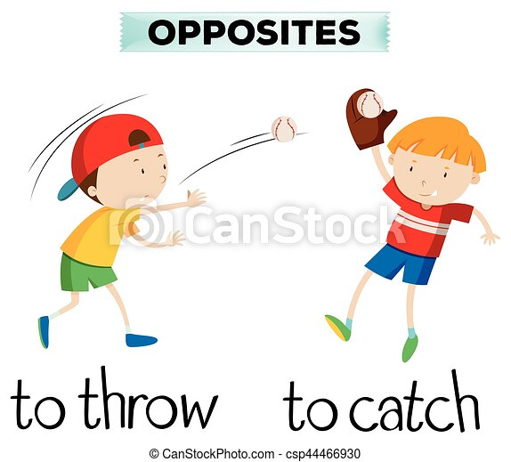 Opposite words with throw and catch - csp44466930