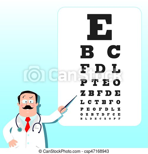 Optician Doctor With Snellen Eye Chart Doctor Funny Man Doctor
