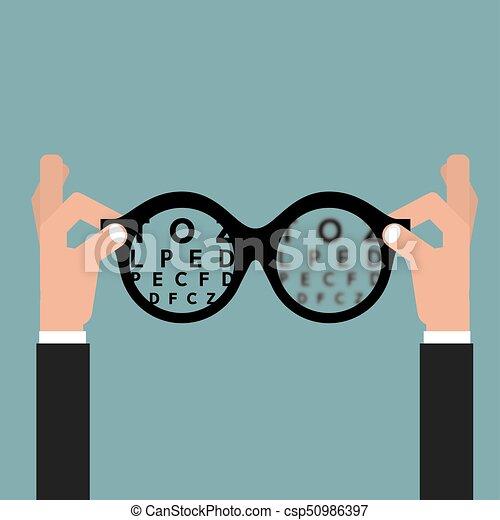 opticien, concept, lunettes, vue, illustration,