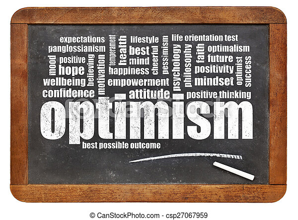 optimism word cloud on blackboard - csp27067959
