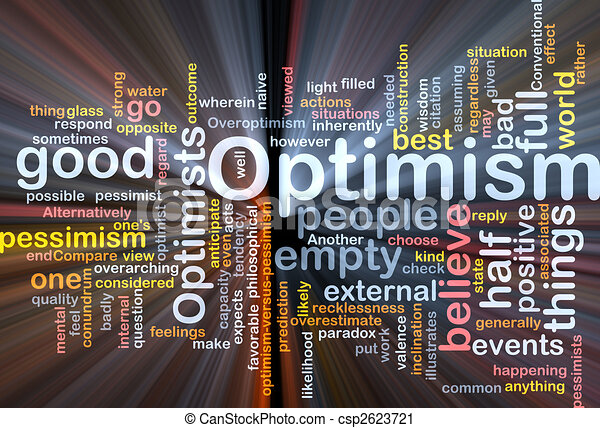 optimisme, wolk, gloeiend, woord - csp2623721