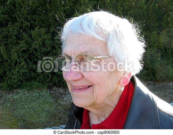 optimiste, personne agee, extérieur, citoyen - csp9060950
