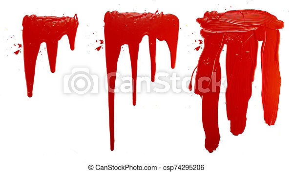 options flowing red paint on a white background. isolate. close up of paint leaking down - csp74295206
