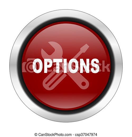 options icon, red round button isolated on white background, web design illustration - csp37047974
