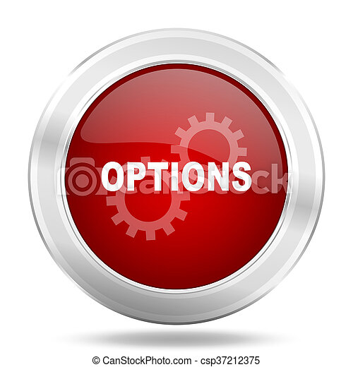 options icon, red round glossy metallic button, web and mobile app design illustration - csp37212375