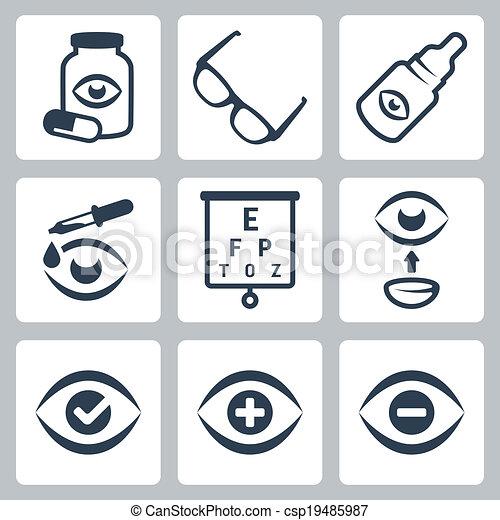 optometry, vetorial, jogo, ícones - csp19485987