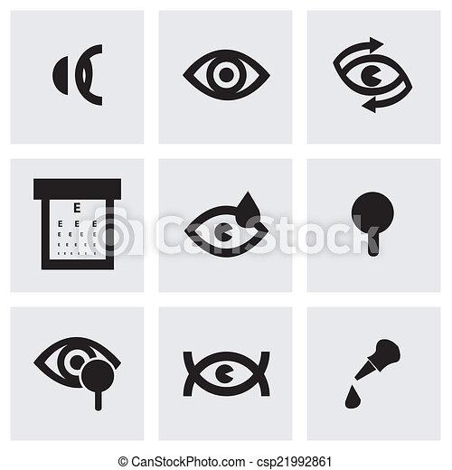 optometry, vetorial, pretas, jogo, ícones - csp21992861