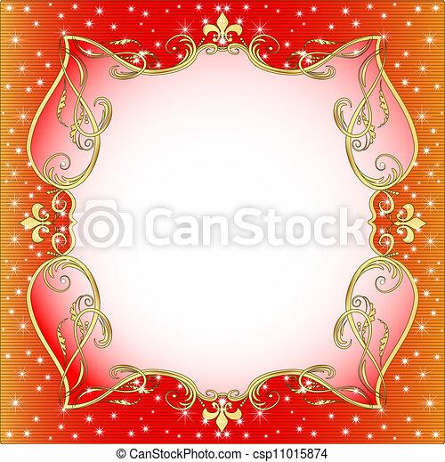 or, étoiles, fond, (en), ornement, rouges - csp11015874