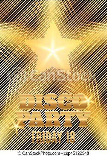or, affiche, star., illustration, disco, vecteur, gabarit, fête, briller - csp45122348