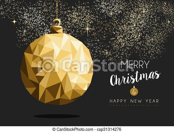 or, année, noël, joyeux, nouveau, origami, babiole, heureux - csp31314276
