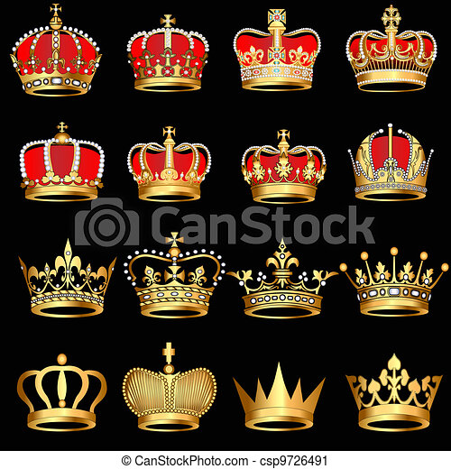 or, arrière-plan noir, couronnes, ensemble - csp9726491