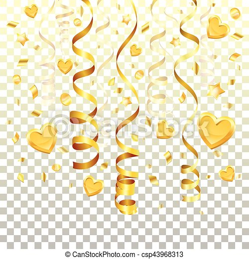 Or Banderole Fond Transparent Concept Cœurs Or Isole Illustration Fond Banderole Vecteur Etoiles Confetti Canstock