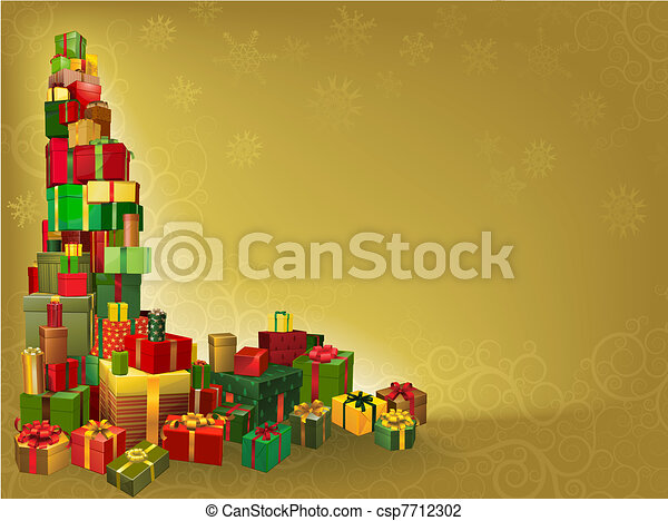 or, fond, cadeau, noël - csp7712302