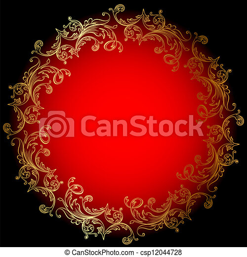 or, fond, rouges, rond, ornement - csp12044728