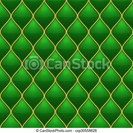 or, matelassé, cuir, seamless, arrière-plan., vecteur, vert - csp30558628