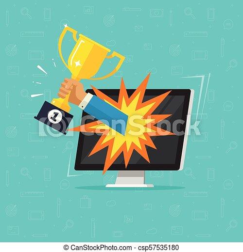 Or Ordinateur Portable Concurrence Informatique Récompense But Clipart Tasse électronique Gagnant Vecteur Internet Prix Plat Champion