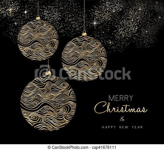 or, ornement, noël, année, nouveau, babiole - csp41676111