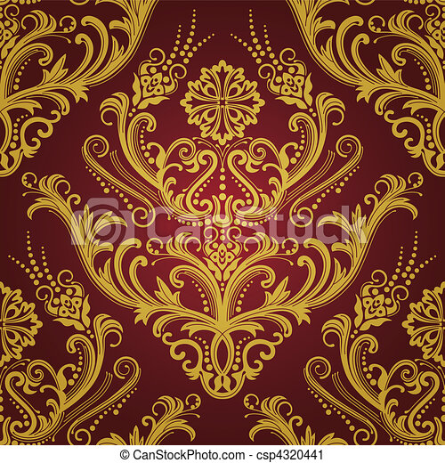 or, &, papier peint, luxe, floral, rouges - csp4320441