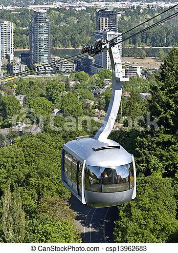 Tranvía aéreo, Portland OR. - csp13962683