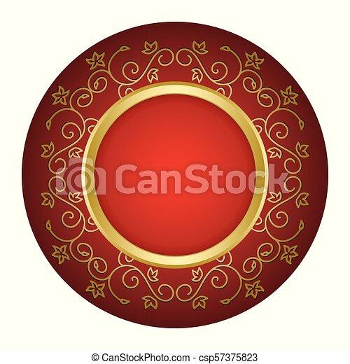 or, vendange, cadre, -, vecteur, fond, rouges - csp57375823