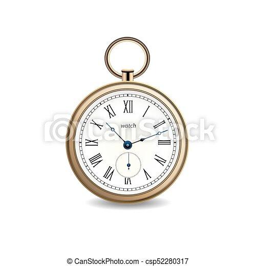 or, vendange, montre, arrière-plan., vecteur, blanc - csp52280317