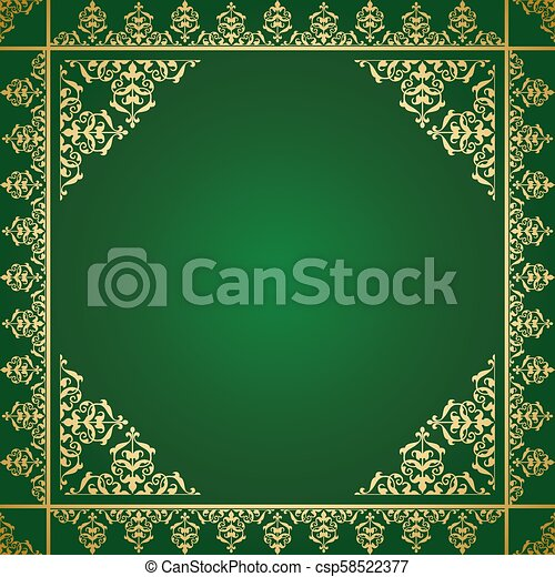 or, vendange, -, ornement, vecteur, arrière-plan vert - csp58522377