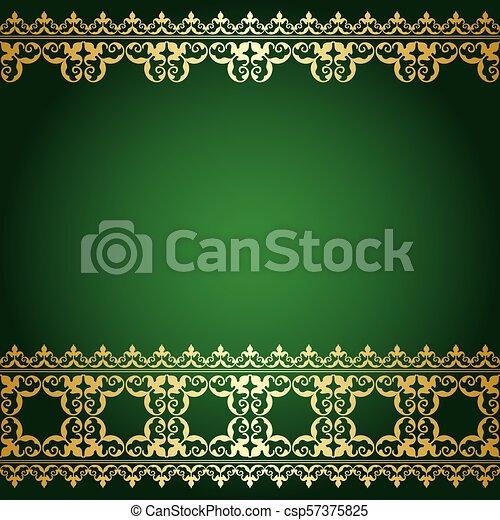 or, vendange, -, vecteur, arrière-plan vert, frontière - csp57375825