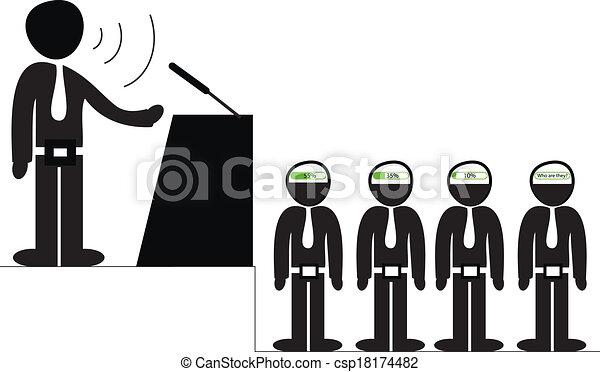 Orador, audiencia, oratoria. Percepción, ilustración ...