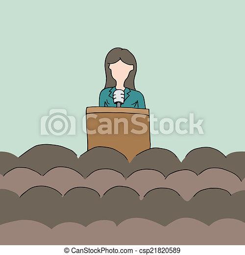 orador, público, femininas - csp21820589