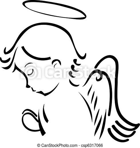 orando, anjo - csp6317066