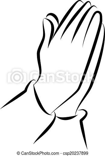 Orando Arte Clip Maos Simples Linha Pretas Par Branca