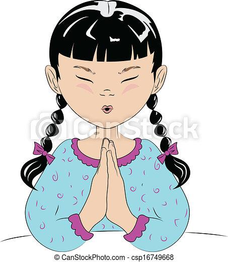 Orando Crianca Dizendo Dela Oracoes Desenho Jovem Bed