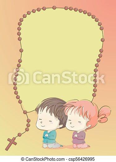 Orando Rosario Fundo Ilustracao Criancas Criancas Rosario
