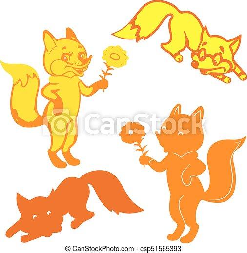 Orange キツネ 4 シルエット 背景 Yellow 白 漫画 Orange キツネ 4 背景 シルエット ベクトル Yellow 白 漫画