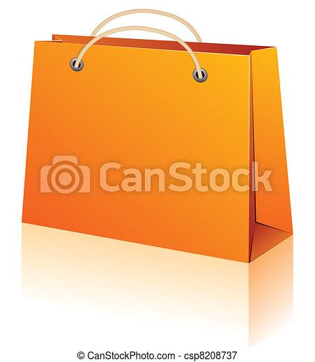 orange, achats, bag. - csp8208737