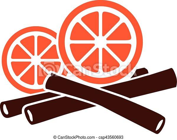 Orange and cinnamon sticks - csp43560693