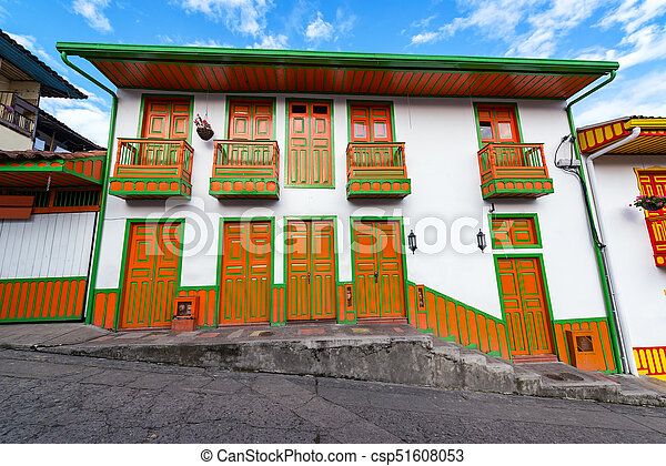 Orange and Green Colonial Building - csp51608053