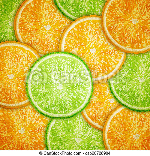 Orange and lime fruit slices background - csp20728904