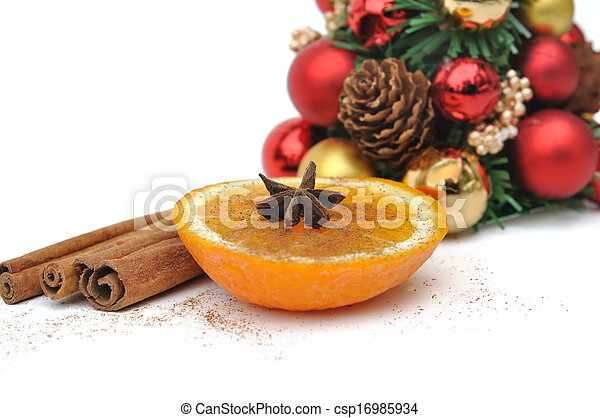 orange and spices for Christmas - csp16985934
