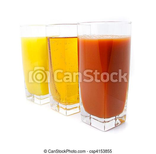 orange apple and grape juice in glass - csp4153855