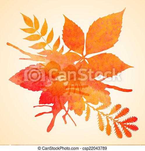 orange, aquarelle, peint, vecteur, unité administrative - csp22043789