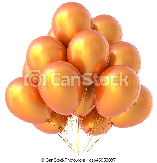 Orange balloons party happy birthday decoration yellow stock