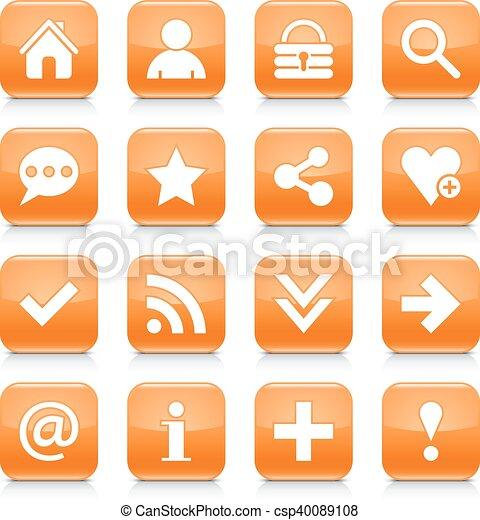 Orange basic sign rounded square icon web button - csp40089108
