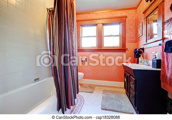 orange, blanc, salle bains, confortable